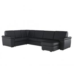 Biter u alakú fekete textilbőrös kanapé