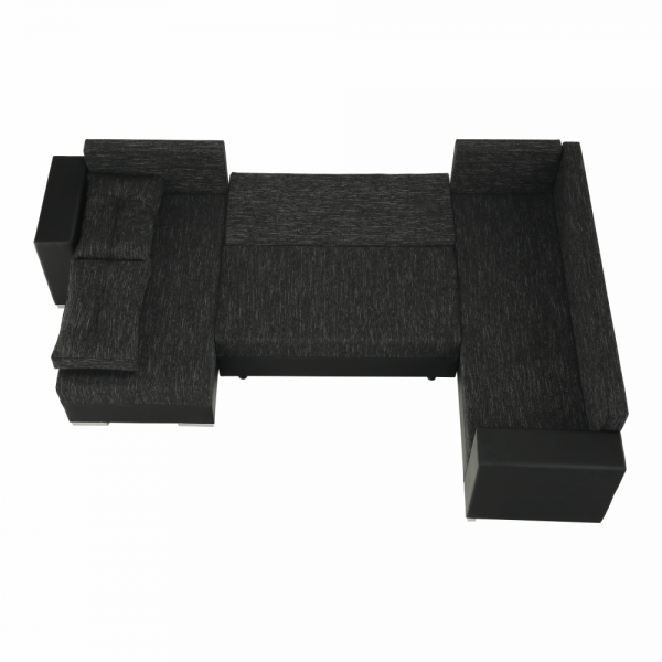 Stila fekete u alakú kanapé