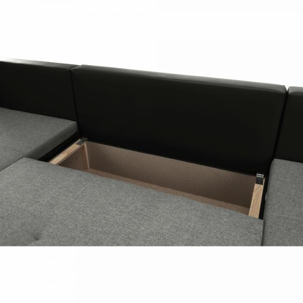 Trendy fekete szürke u alakú kanapé